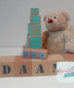 houten naam blokken XL en mini, houten geboorte toren