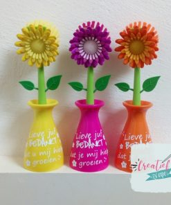 afwasborstel bloem juf, paars, geel en oranje