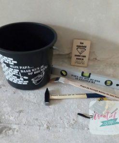 bouwemmer voor papa, waterpas en hamer, kluspakket