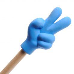 gum handje blauw op een potlood