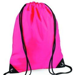 gymtas met naam, gymtas fluor roze
