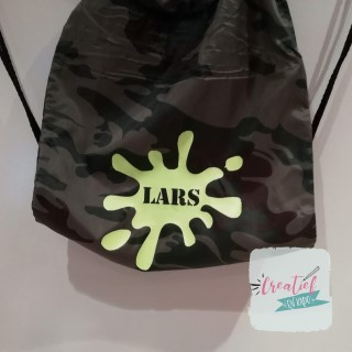 camouflage gymtas verfspetter Lars