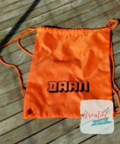 gymtas met naam, oranje Daan