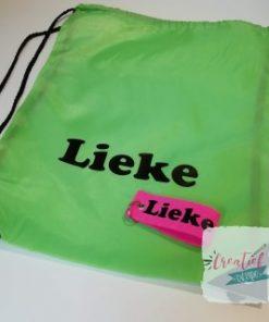 gymtaslime groen met naam en sleutelhanger met naam Lieke