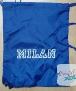 gymtas met naam blauw MIlan