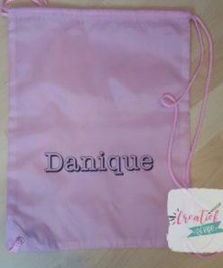 gymtas licht roze met naam, Danique