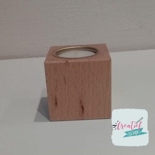 houten theelichtje