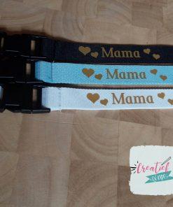 keycord voor mama, keycord wit, lichtblauw en zwart