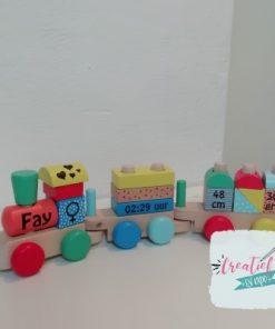 trein met geboortegegevens, Fay, kraamcadeau met naam