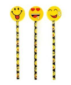 smiley potlood met leuke gum toppers