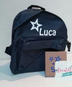 stoepkrijt met naam, rugtas met naam Luca