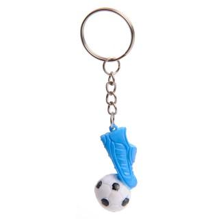 voetbal met voetbalschoen blauw sleutelhanger