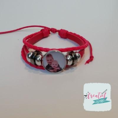 foto armband met eigen foto rood