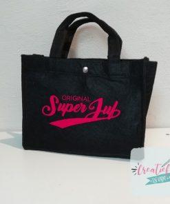vilten tas original superjuf, vilten tas zwart, cadeau juf