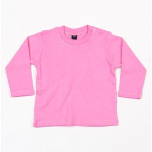 baby shirt roze lange mouw, baby longsleeve roze