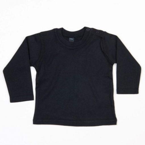 baby shirt lange mouw zwart met naam of eigen tekst