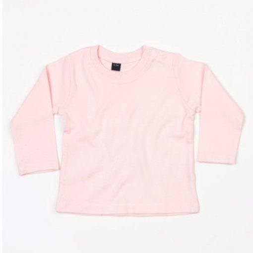 baby shirt met lange mouw roze, longsleeve baby lichtroze