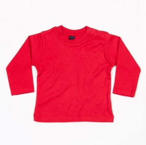 baby shirt lange mouw rood, longsleeve shirt baby rood