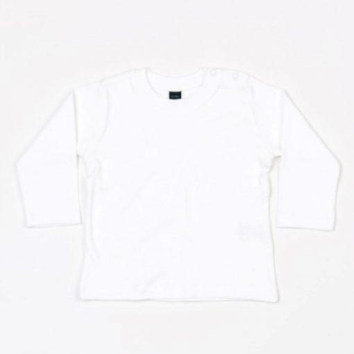 baby shirtje lange mouw wit te bedrukken met naam of eigen tekst