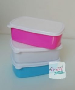 broodtrommel te bedrukken met eigen foto, blauw, roze wit