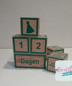 houten blokken, aftelblokken toren XL, groen