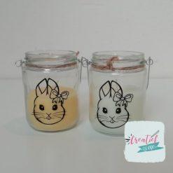 Kaarsje in glas Pasen, bunnygirl