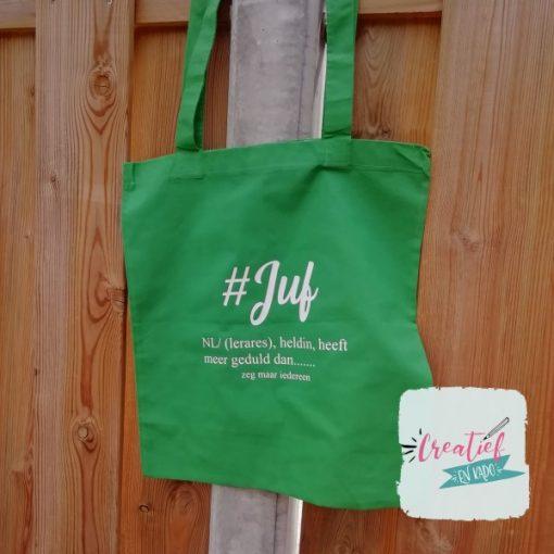 katoenen tas groen #juf