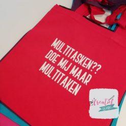 rood katoenen tas met eigen tekst