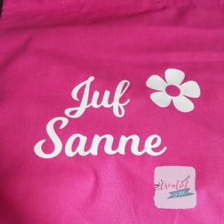 70e038ffbdfa81 Roze katoenen tas met naam of bedrukking - Creatief en Kado