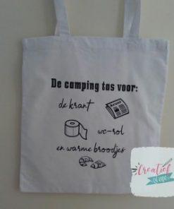 wit katoenen camping tas