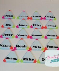 markeerstiften driehoek met naam