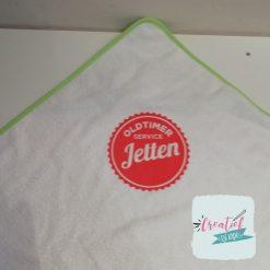 omslagdoek met naam, omslagdoek met logo, Jetten Logo