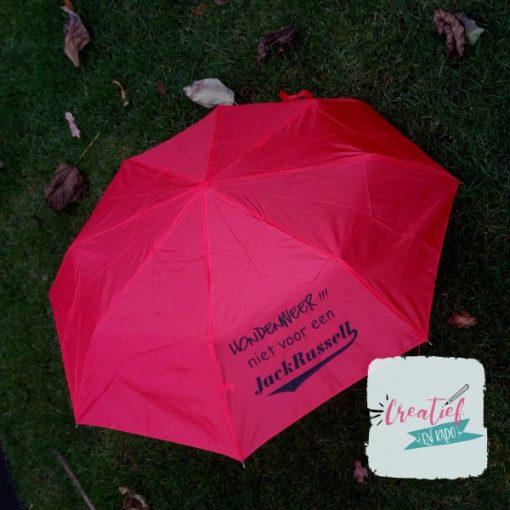 rode paraplu met hondenweer tekst hond