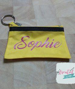 gele sleuteletui met naam Sophie