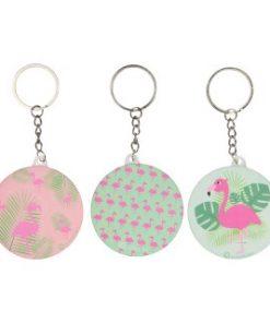 flamingo sleutelhanger met spiegel 3 prints