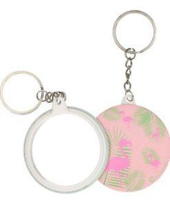 flamingo sleutelhanger met spiegeltje