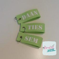 sleutelhanger met naam fel groen