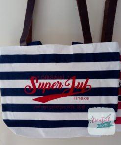original superjuf tas, strandtas blauw gestreept rood