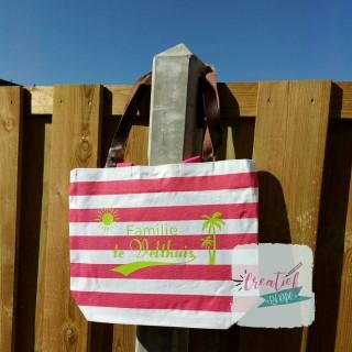 strandtas roze gestreept, strandtas met naam,