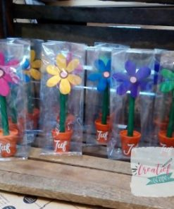 bloemen pen juf, cadeau juf