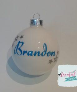 kerstbal met naam en sterretjes Brandon