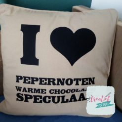 kussenhoes beige I love Speculaas Sinterklaas
