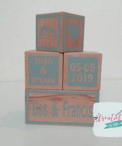 houten blokken huwelijk, trouwcadeau