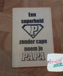 superheld papa houten kaart