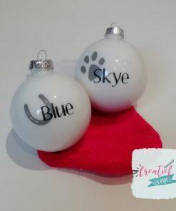 kerstbal huisdier, kerstbal paard, kerstbal hond