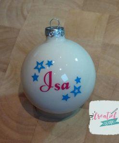 kerstbal met naam en sterretjes Isa