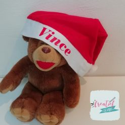 kerstmuts met naam rood