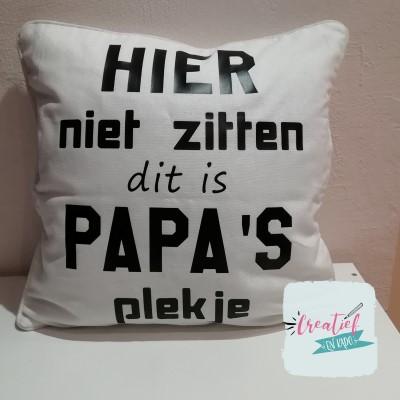 kussenhoes papa's plekje wit