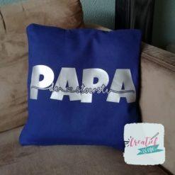 kussenhoes donker blauw papa met namen kinderen