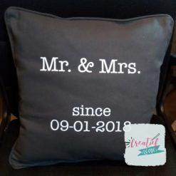 kussenhoes Mr & Mrs, kussenhoes trouwdatum